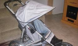 Used only for 1 summer. In excellent used condition. this would be an excellent winter stroller as it has a strong alum frame, big sturdy tires and is easily foldable. Its also good on gravel roads and has a nice smooth ride. It also includes a cupholder