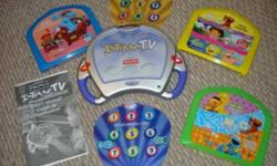 This Fisher Price Interac TV system is in brand new condition.  Use the controller to play fun interactive games.  Includes instructions, test card, programming card, Sesame Street set,  Blues Clue's set, Dora the Explorer and Sponge Bob set.  Asking: