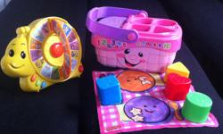 Left toy teaches letters from A to Z, words from A to Z, animal sounds and things, and play songs. 3 modes of play. Uses 2 AA battery(included). Right toy teaches count of 1-10, learn colors and shapes, foods, opposites, play songs. 2 modes of play. Uses