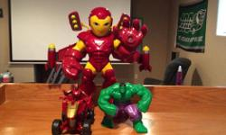 Iron Man figurine who makes sounds with detachable jet pack. Iron Man on a 4-wheeler and Hulk figurine. I have 2 Hulk figurine even though picture only shows one. Located in Lumsden. Please email, text or call if interested. Posted on other sites.