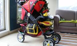 I am selling this great Jeep Liberty red and yellow all terrain stroller in perfect conditions, comes with mosquito net and rain cover, has a very big basket, it also has a window on the canopy, so you could check your child, comes with two cup holders