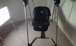 jmason Open Aire Baby Swing for sale. Asking $60 or best offer.  Tray flips open, 3 point restraint harness and 3 position reclining seat.