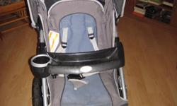 For sale, blue/grey jogger style stroller with pivoting front wheel, under carriage storage bin, cup and snack holder, hand break, weather shield.   Harness equipped making it suitable for infant to older toddler.