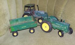 John Deere tractor and trailer and a well used tractor
