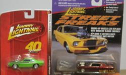 """Johnny Lightning 1/64 Cars - diecast, new in package, excellent condition.   """"Street Freaks"""" - 1970 rebel Machine """"40 Years"""" - 1970 Challenger T/A"""