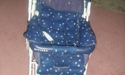 I am selling this Jolly Jumper baby stroller. It is in very good condition. It also comes with a peek a boo top. It also comes with a netted screen. It has a bottom tray. Reversible handle and folds flat for easy storage. I am asking $75 OBO. Call or