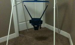 This Jolly Jumper Exerciser on a Stand is portable and fits in any room. Door frames are not necessary for this exerciser as the Jolly Jumper is attached to the Stand. The Jolly Jumper Exerciser is sturdy & scientifically designed, allowing baby to enjoy
