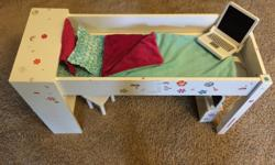 Loft sale bed with chair and computer. Built for Journey Girls from Toys r Us. Made of wood