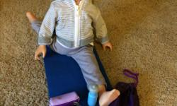 "18"" doll with yoga playset"