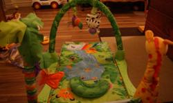 Infants jungle mat from smoke-free home. Attached with velcro are two removable soft toys. There is also a noise making cat and ball which plays music when the ball is spun. Asking $20.00. Email if interested.