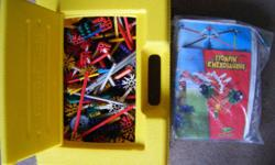 """Large bag of assorted K'nex plus yellow carry case approx 16"""" x 20"""" (40 cm X 30 cm) filled with Knex assorted pieces plus bagged projects with instruction book. $23 takes all. Serious inquiries only please."""