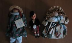 """I have 3 adorable keepsake dolls, all of which are in very good condition. 1 - Scottish doll measures 7"""" tall 2 - Anne of Green Gables doll measures 10"""" 3 - handmade doll measures 8"""" All 3 for just $15.00 See pics Check out my other ads"""