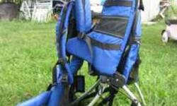 With detachable daypack, side bags, and rain cover.  Auto-deploy kickstand. (child in pics is 3 ½ and was carried from a few months old up until a few months ago in the pack...now he walks on his own) Excellent condition.