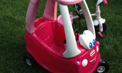 Selling girl's coop car and little bike, asking $25.00 for both The car is fairly new, hardly used, the bike is fairly used but in usable condition.