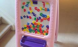 A lot of fun! Great condition. Includes chalk eraser and assortment of magnetic numbers and letters. All reasonable offers will be considered. Serious inquiries only please.