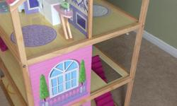 Dollhouse is in good condition and remains assembled. All dollhouse furniture captured in the screenshots are included in the sale of the dollhouse.