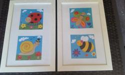 2 framed pictures suitable for a kid's room. $5 each.