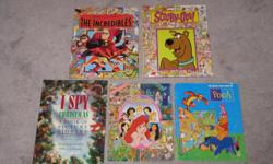 The Incredibles - look & find - $3 Scooby Doo - look & find - $3 I Spy Christmas - look & find - SOLD Disney Princess - look & find - $3 Winnie the Pooh - look & find $3 Super sticker book - Ultimate Heroes (new) - $5 Super sticker book - Mega machines