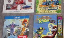 Cars - World of Cars (5 stories / 128 pages) (Pixar/Disney) - $8 Cars Cars Cars - $2 X-Men - copy cat - $2 X-Men - repo man - $2 (needs batteries) Disney - 5 minute princess stories - $6 Barbie - Fun to Cook - step by step recipes - $6 Disney Princess