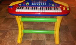 Electronic keyboard looks like new. Has learning mode, recording mode, 8 different instrument sounds, 8 background tempos, 4 drum buttons, light up keys (for learning mode). Tempo (speed) control and volume. Microphone jack is built in for voice-overs.