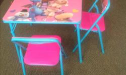 Cute pink table and two chairs available for sale. Best suit for girls on 4 years and above.