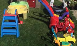 Time to let someone else enjoy! All in excellent shape. Stored in doors/shed over the winter. Take them all.... Not sold separately. Cash only. Windsor Park Regina. Includes the cottage, water table, slide, lawnmower, plane push you, ride on leap frog,