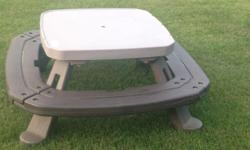 Little tykes picnic table. Folds flat for storage. Has some water stuck inside it. Fits kids up to about 4 ft tall (7 years old or so). Pick up in white city or meet me downtown during workday.