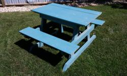"Wooden picnic table recently painted. 38"" x 44"" 25"" high"