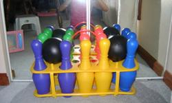 Bowling set is in great condition with all pieces.   Great for outdoor fun during the SUMMER and even inside during the WINTER!