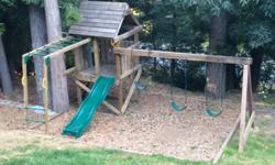 This house has it all! Monkey bars, slide (can be moved to the other side), 3 swings, steering wheel and telescope! Has all new hardware. You pick up Happy Valley area. Cross posted reduced to $500 for a quick sale!