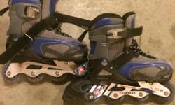 Roller blades blue and grey can be used for boy or girl adjustable sizes 1-4