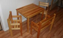 Excellent condition   Table, bench and two chairs   $30.00   Please call 780-484-667