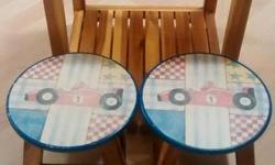 Wooden Waterproof Table with Adorable Vintage Inspired Wooden Stools Asking $30 for the set