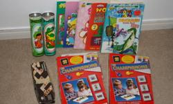 For sale:  puzzles, coloring books, dominoes, and 2 peg bright  3.00 for all   5 puzzles 2.00 for all   pooh photo book 1.00
