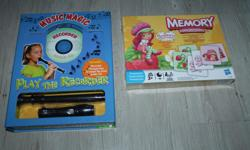 I got 2 brand new toys for kids. One is a flute kit. To learn how to play it. Never been used. With a CD and book. The other one is a memory cards toy. Both never been open and are new.