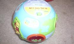1st pic Winnie the pooh ball. New. Sings and counts. Paid $25. Asking $20 firm 2nd pic Vtech Nursery has a piano animal sounds and sings. Brand new. Paid $30. Asking $25 firm. 3rd pic Vteck zoo.Has piano sings and monkey moves. New. Paid $30 asking $25