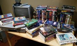 """Loads of kids VHS and DVD movies, over 60 titles, complete with small 13"""" TV and JVC DVD/VHS combo player. Remotes and cables, everything is included. Great for a kids playroom or cottage. $40 or best offer. Contact me via email at mikerfitz18@gmail.com"""