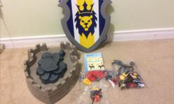 Includes a fort, four figures, horse, two working cannons, and many accessories. The fort also converts into a large shield for the child for double the fun. This wasn't used much. It comes from a clean, smoke free, pet free home.