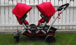 Sturdy folding Kolcraft Contours double stroller with removable multi adjust seats, car seat adapter and plenty of under storage. Wheels are good for off road use as well. Aluminum frame so it is reasonably light weight. Very good shape.   Call