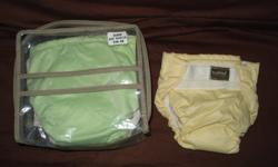 Five Kushies Cloth Diapers all are velcro $20.00 for all five. Colors are Yellow, Green, White, Duck pattern and White with colorful swirls. They are all in one, convenient when your used to disposable diapers. Size 10-22lbs Feel free to e-mail with any