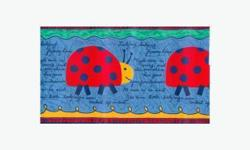 "Ladybird Decorative Border Di Lewis for Kids collection decorative wallpaper border. Made by Borden Home Wallcoverings USA. Three unopened 15 foot (by 7"" wide) packages (45 feet total length). Each border comes with colourful stylized ladybirds and a poem"