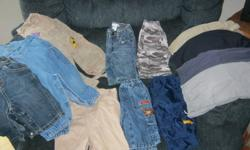 All clothes are clean with ro rips or stains. Includes 12 pants, 5 one piece oufits, 9 cotton pj's, 2 fleece pj's, 8 onsies, 2 full outfits, 13 tops, a splash suit and some socks. Smoke free home