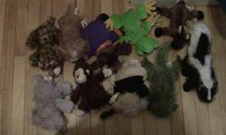 Everything you see in these pictures are included. Every Webkinz included is in great condition except for the beige, mutli-coloured dog in the first picture, who's eyebrow is loose. A few come with free clothing. Every Webkinz is $5 except for the pig