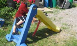 little tykes slide (approx 3ft high) that can fold for storage. Just the slide, this is NOT a climber, just the ladder and slide Great shape