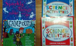 This large lot of 4 books is perfect for the active crafter, scientist or camper in your home! Lot includes: - The Usborne Book of Science Activities: Volumes 1 & 2 - Usborne Activities: Sparkly Things to Make and Do - Camp Out! The Ultimate Kid's Guide