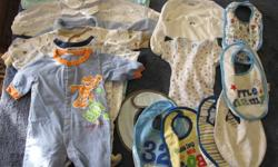 We are selling a large lot of boy's clothing, newborn to 18 months! They are all in great condition, no rips or stains, coming from a smoke free home. There are over 140 items, for just $100! That's less than $1 a piece! 1. Newborn 2. 3 months 3. 6