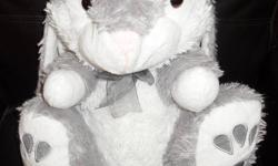 Large stuffed animals...   grey floppy-eared bunny white pointed-ear bunny brown sleepy bear happy lion dairy cow   from a smoke-free home   Asking $2.00 each