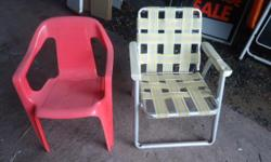 TWO CHILDRENS LAWN CHAIRS, ONE FOLDING AND ONE SOLID. $5 EACH OR BOTH FOR $8.