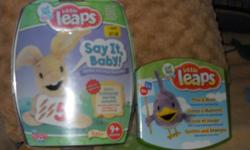 two new and unused little leaps interactive games. for baby`s 9 months and up. play an dlearn in english, french or spanish. games are... 1) SAY IT, BABY -for verbal and vocal discovery. 100+ stimulating learning moments to help baby vocalize and develop