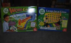 """These two games are in excellent condition with all parts.   The first game  is """"Leap-in-a-Line"""" which has 5 ways to play and introduces colours, shapes, sizes, letter recongnition and letter sounds.   The second game is called """"Word Launch"""".  It hooks up"""